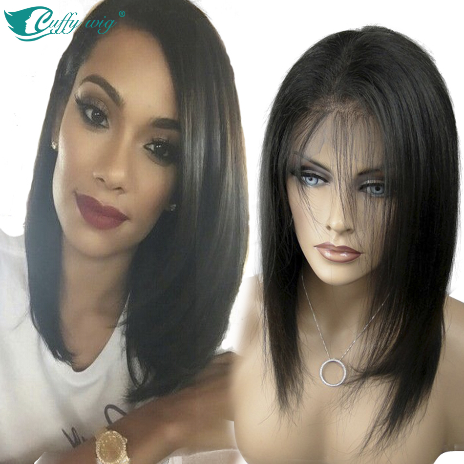 Гаджет  Virgin Indian Remy Hair Lace Front Wigs 100% Human Hair Front Lace Short Straight Wigs 130%Density With Nratural Hairline None Волосы и аксессуары