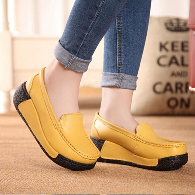 2016 Натуральная кожа платформы женские туфли на платформе клинья пожимая увеличение ...