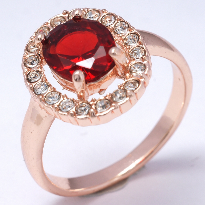 Hot Selling Dropship Sexy RED Shine 18K Rose Gold Filled Cubic Zircon Women Lady Fashion Rings