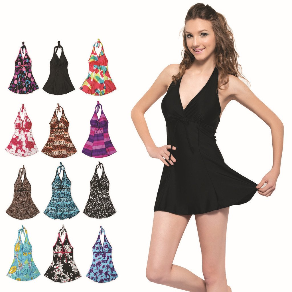 free shipping 2014 women swimwear dress plus size swimwear one piece