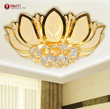 Lotus Flower Modern Ceiling Light With Glass Lampshade Gold Ceiling Lamp for Living Room Bedroom lamparas de techo abajur(China (Mainland))