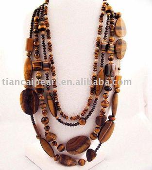 Fashion Party&Gift&Life&Wedding Costume Jewelry Nature Stone Tiger eye stone Necklace