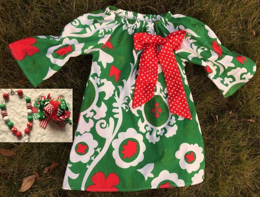 baby girls Christmas dress with matching hair bows and chunky necklace set(China (Mainland))