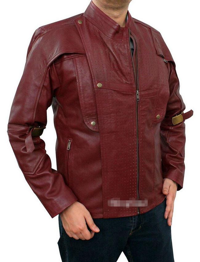 New Arrival Custom made STARLORD Guardians of the Galaxy Chris Red Leather Jacket Cosplay Cosutme For HalloweenÎäåæäà è àêñåññóàðû<br><br>