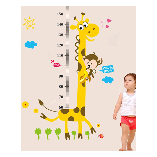 180cm Kids Height Chart Wall Sticker home Decor Cartoon Giraffe Height Ruler 2016 New room Decals Wall Art Sticker wallpaper(China (Mainland))