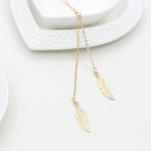 Gold Silver Feather Necklace Women Leaf Long Pendant Tassel Leaves Charm Chain Statement Choker Ladies Fashion Jewelry - LAM HOME store