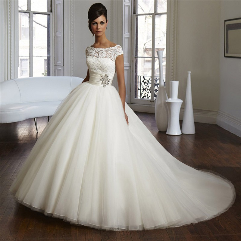 Vestido De Noiva Sexy Design Cap Sleeves Bridal Gown Beaded Perfect Marry Lace Robe De Mariage Royal Wedding Dress 2016(China (Mainland))