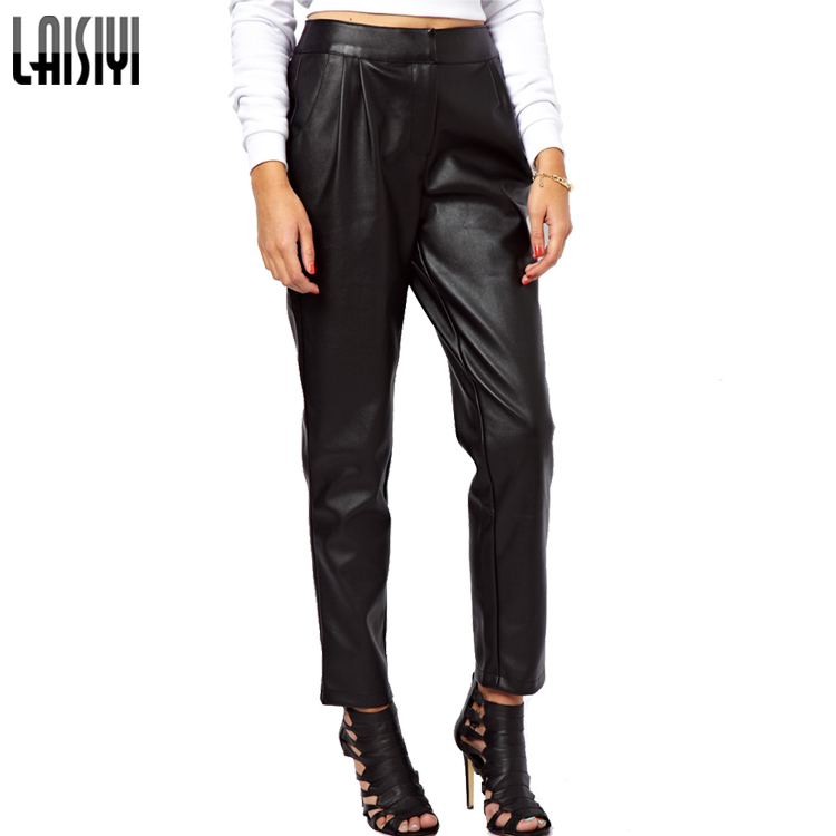 Rock Female PU Long Leather Pants Pleated Design Pencil Pants Street Cool Rolled Edge Trousers Casual Calca Feminina PA1025Одежда и ак�е��уары<br><br><br>Aliexpress