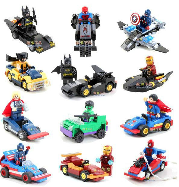 12 Figures & 12 Vehicle Marvel Super Heroes Avengers Building Bricks Block Set Minifigures Batman Toys Compatible With Lego(China (Mainland))