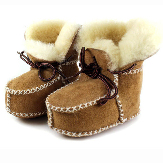 Baby Boys Snow Boots Shoes Prewalker for Girl Genuine Sheep Fur Boots First Walkers Infant Toddler Ugly Boots Handmade Sewing(China (Mainland))