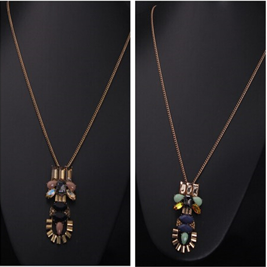 New arrival Fashion brand Vintage necklace for women 2015 gem crystal pendant long statement necklace holesale sweater necklace(China (Mainland))