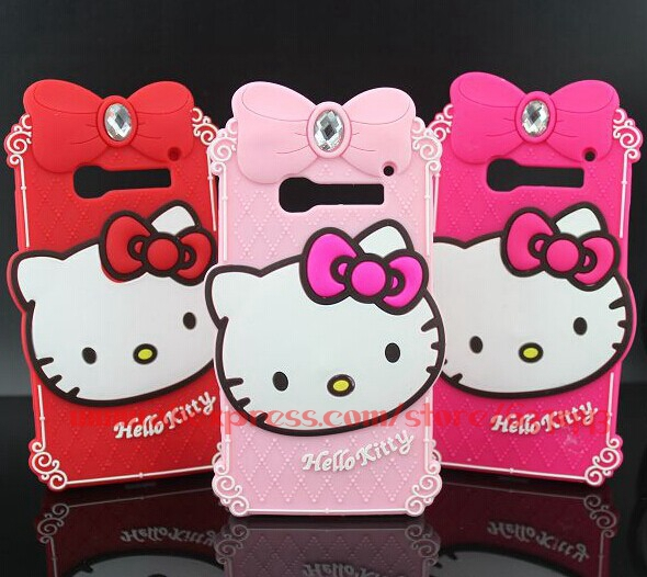For Alcatel One Touch Pop C5 Case Luxury Diamond Hello Kitty Silicone Phone Back Cases Cover For Alcatel C5(China (Mainland))