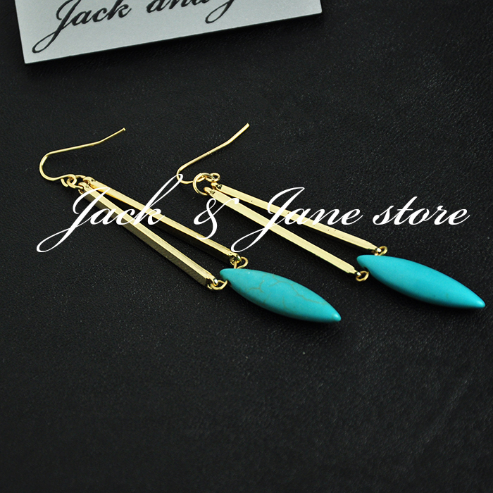 Beautifully textured imitation turquoise earrings natural turquoise earrings gold filled(China (Mainland))
