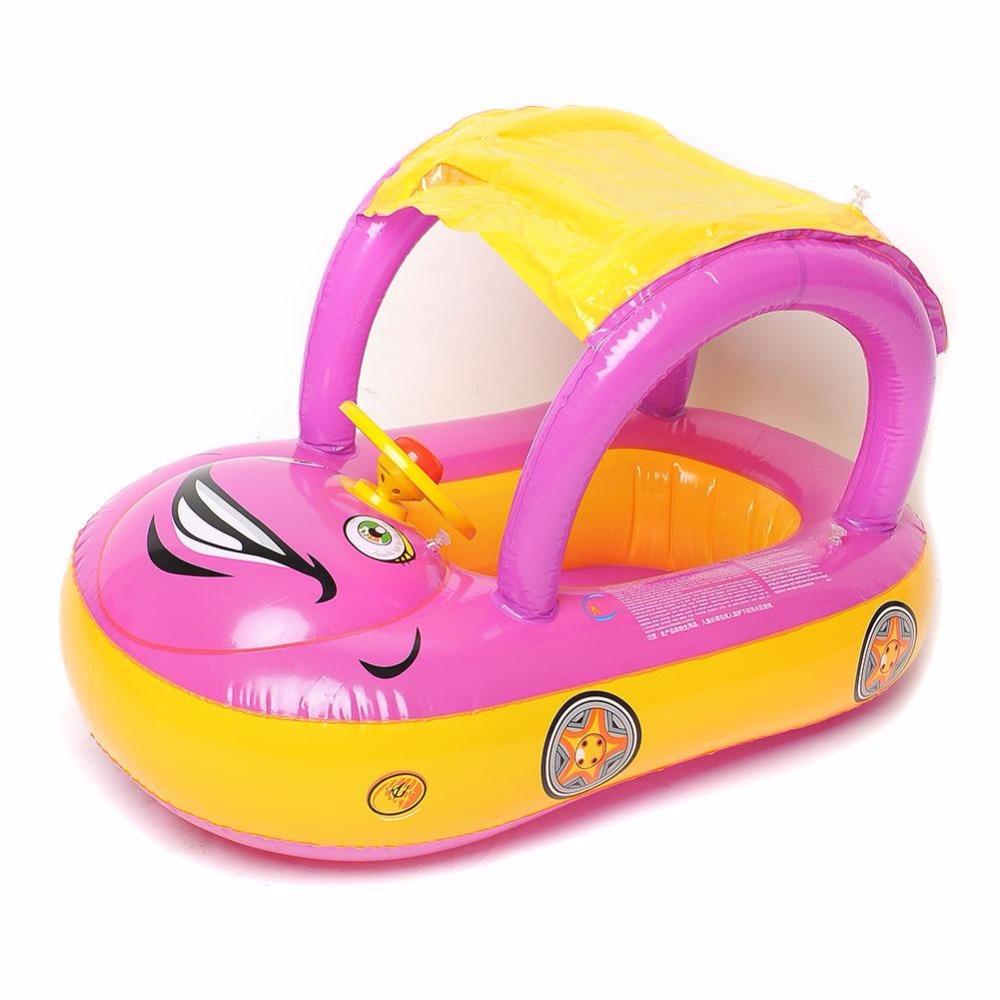 Baby Boat Sunshade Swimming Ring & Sunshade Cartoon Car Kids Baby Child Children Water Sports Toddler Swim Float Seat Boat(China (Mainland))