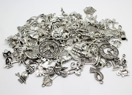 Free Shipping 30-50 pattern Mixed 50pcs silver tone Charms Alloy Pendant Jewelry Findings (10mm-25mm)(W02323x1)(China (Mainland))