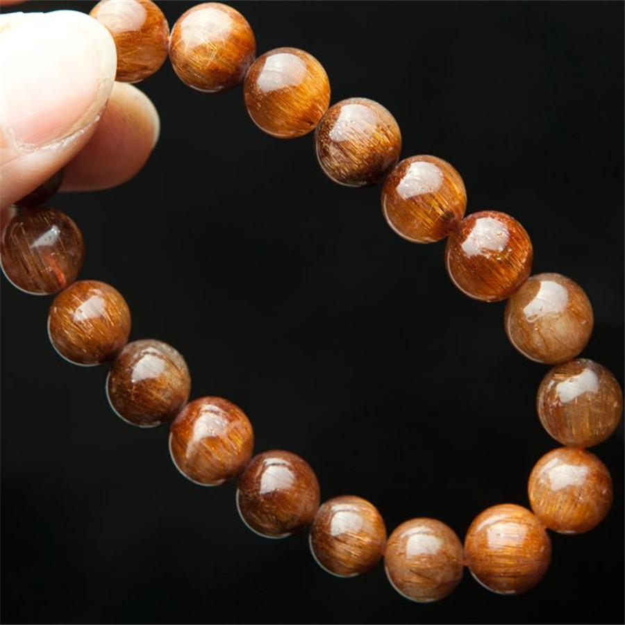 100% Genuine Brazilian Natural Copper Rutilated Quartz Crystal Bracelets For Women Femme 10mm Charm Stretch Round Beads Bracelet(China (Mainland))