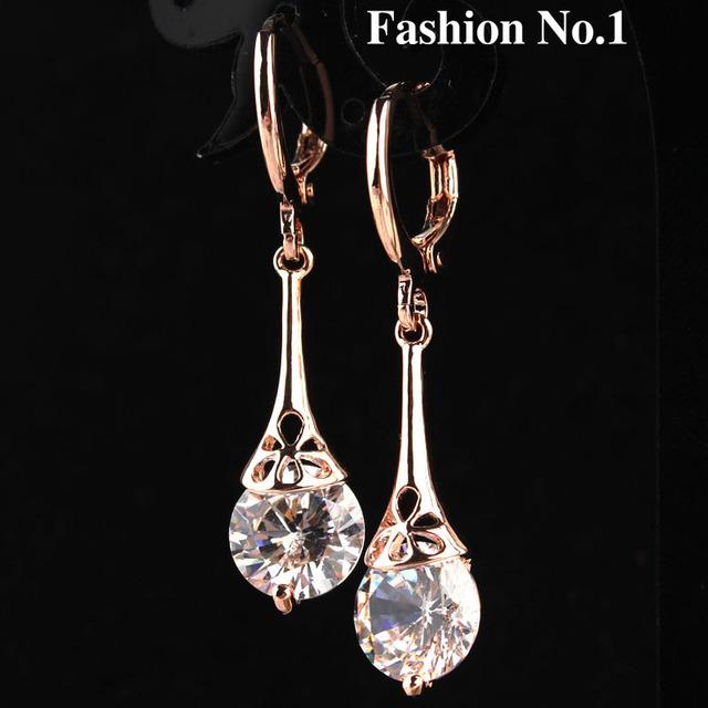 Бесплатная доставка 2 цвета белый капля воды 18 К позолоченные романтический CZ алмазов леди женщины серьги Dangler ювелирных изделий