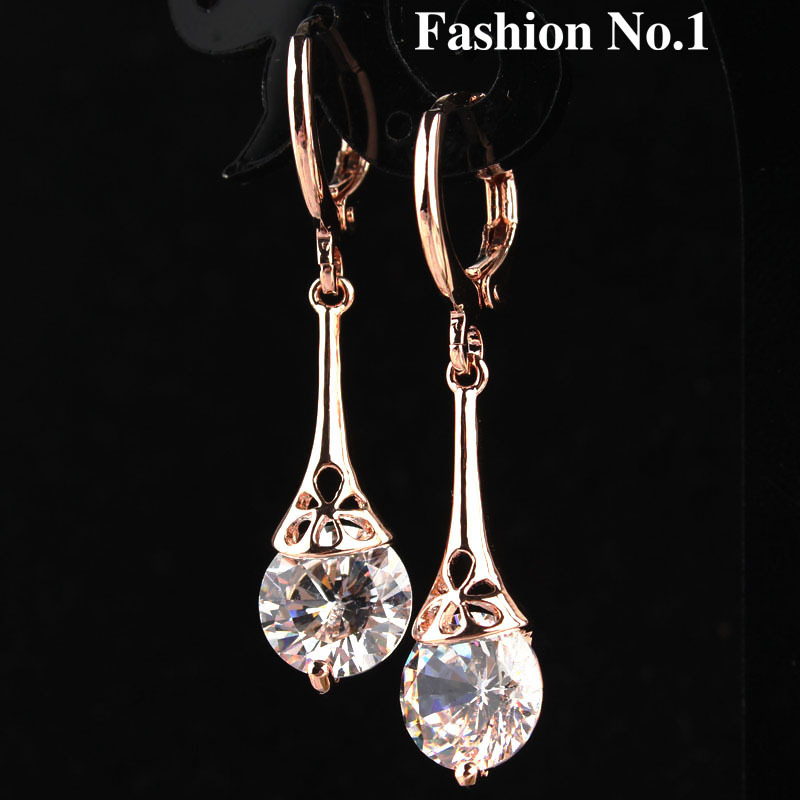 Free Shipping 2 Colors White Green Water Drop 18K Gold Plated Romantic CZ Diamond Lady Women Earrings Dangler Jewelry(China (Mainland))