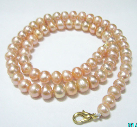 Free Shipping 10pcs/lot Round Freshwater Pearl Fashion Necklace Lobster Clasp 8-9mm Pink 16inch P9