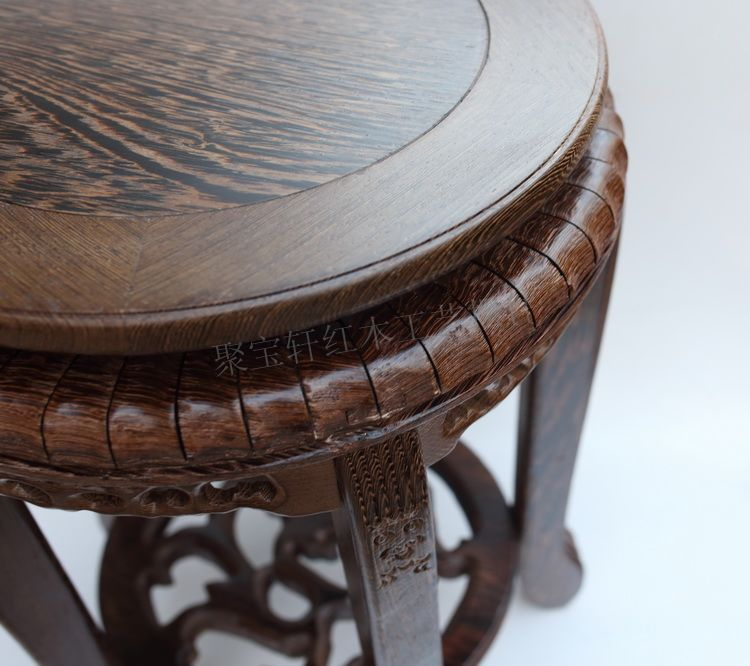 Wenge steller stool wood household act the role ofing is tasted red wood carving handicraft furnishing articles vase base