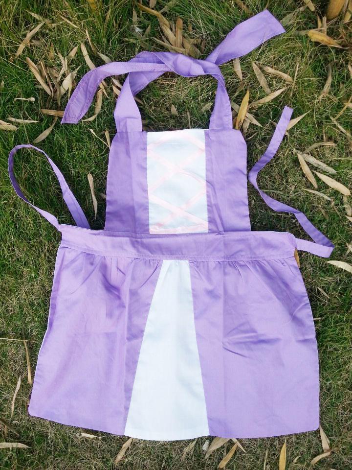 Rapunzel purple cotton princess apron frozen kitchen apron child cooking aprons(China (Mainland))