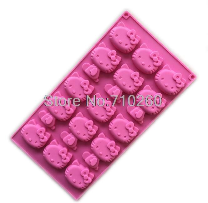 F012 Wholesale/retail free shipping,1 PCS 15 hole hello kitty cat clay Cake Mold Jelly pudding KT Chocolate mold(China (Mainland))