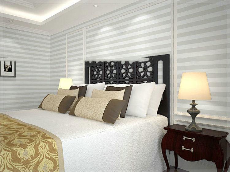 Grey white wide stripe wallpaper modern pvc vinyl home for Grey striped wallpaper living room