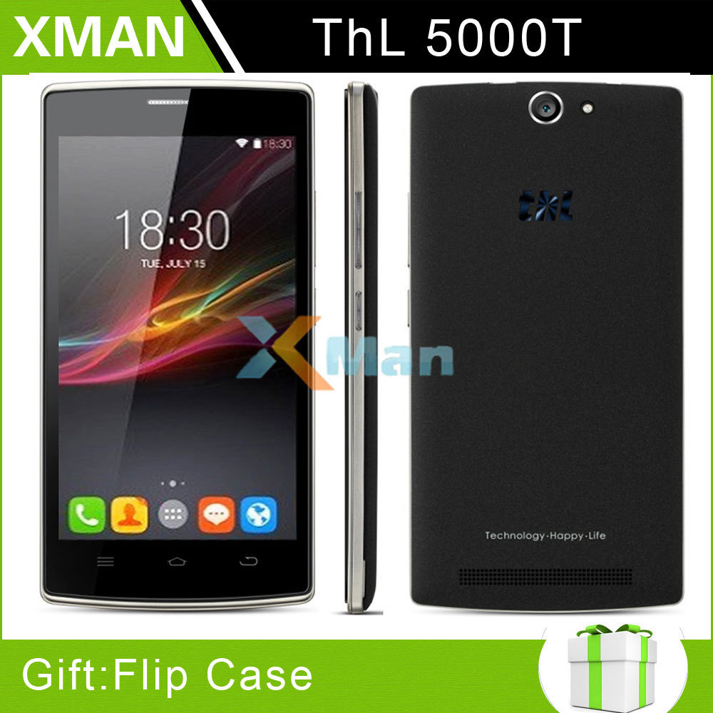"Flip cover ! Original THL 5000T 5000 T Tesla MTK6592M Octa Core Mobile Phone 5.0"" IPS Android 4.4 8GB ROM 13MP OTG 5000mAh Black(China (Mainland))"