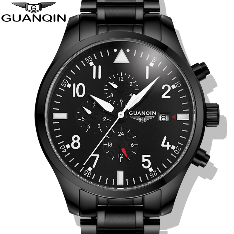 Watches Men 2015 GUANQIN Army Watches Full Steel Sport Military Men Wristwatch Black Automatic Mechanical Movement Luxury Brand(China (Mainland))