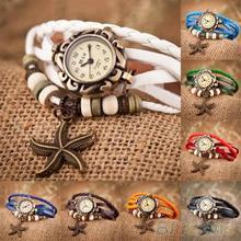 Woman Girl Vintage Leather Bracelet Starfish Decoration Quartz Wrist Watch