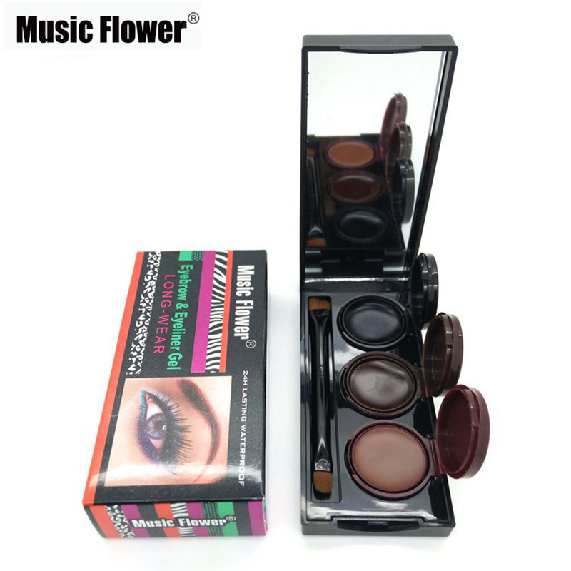 Brand Makeup Music Flower 3 Colors Eyebrow Powder & Eyeliner Gel 24h Lasting Waterproof Smudge-proof Cosmetics Eye Brow Cream(China (Mainland))
