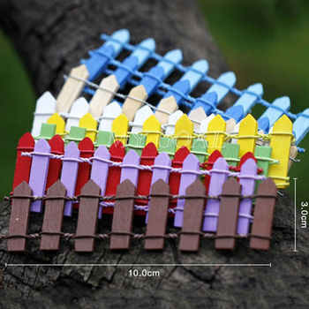 10x3cm Beautiful Wooden Fence Garden Ornament Accessory Plant Pots Fairy Scenery Decor Different Colors