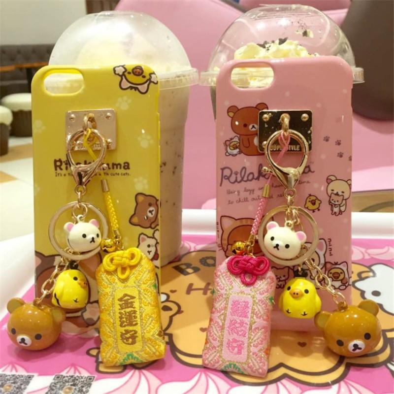 Rilakkuma Bear Cute cartoon Soft phone cases For iPhone 6 6s 6plus 6splus Easily bear case bell Tassel Keychain charm back cover(China (Mainland))