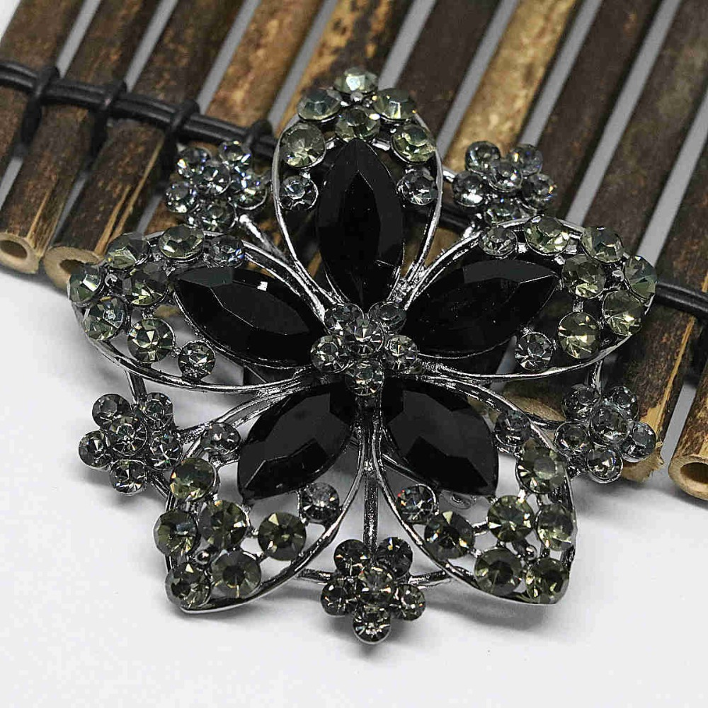 High quality large flower brooches black clear rhinestone new delicate crystal charms pin jewelry CD(China (Mainland))