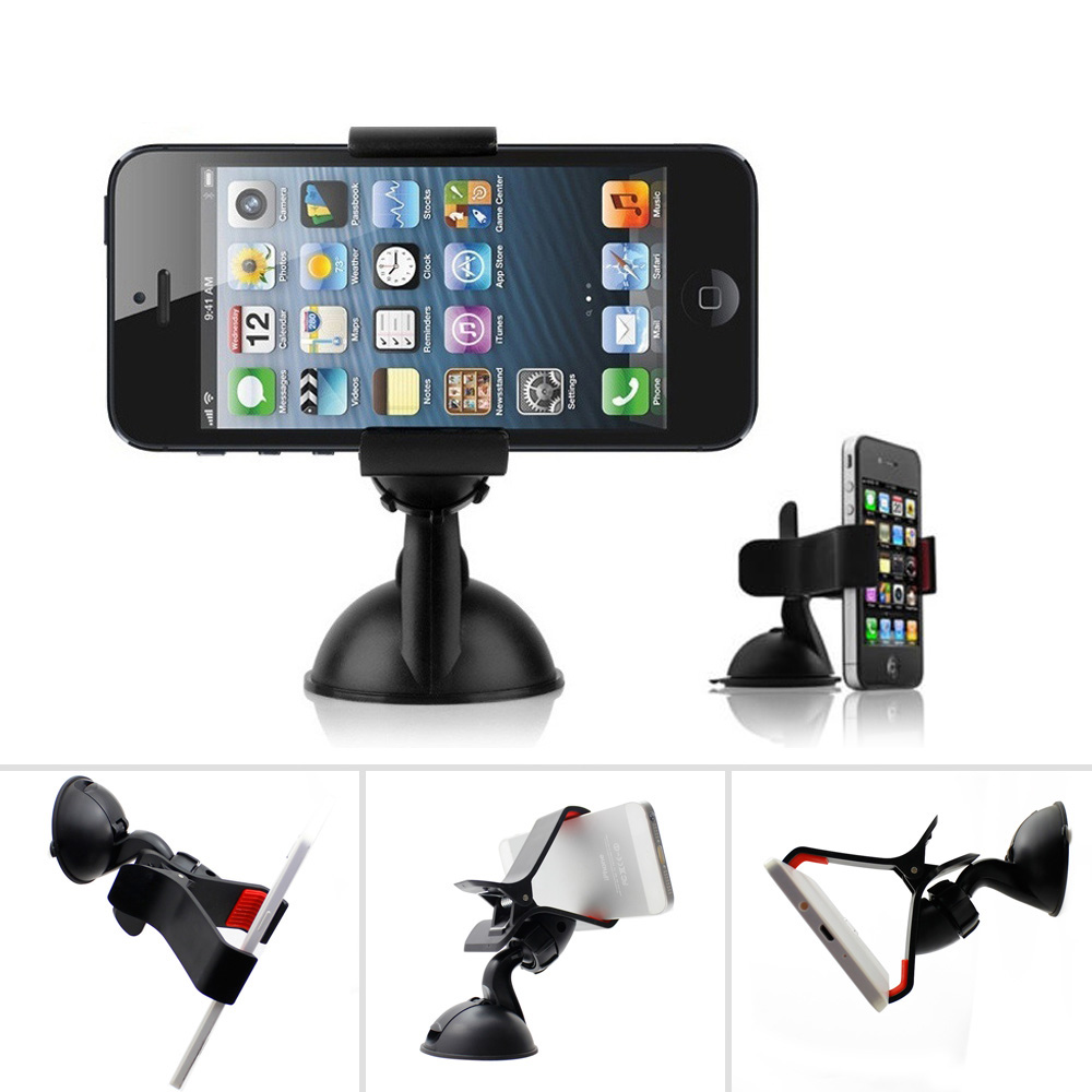 Universal 360 Degree Rotating Car Phone Windshield Duckbill Clip Mount Holder Stand For Cell Phones GPS Tablet PC Accessories(China (Mainland))