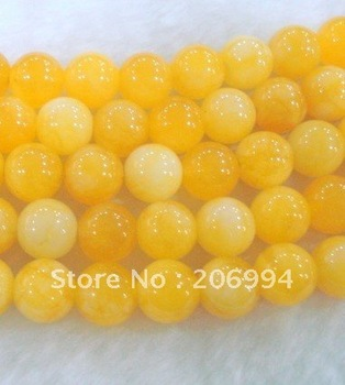 "Wholesale 8mm Yellow Chalcedony Gemstone Loose Beads 15 "" 2pcs/lot free shipping"