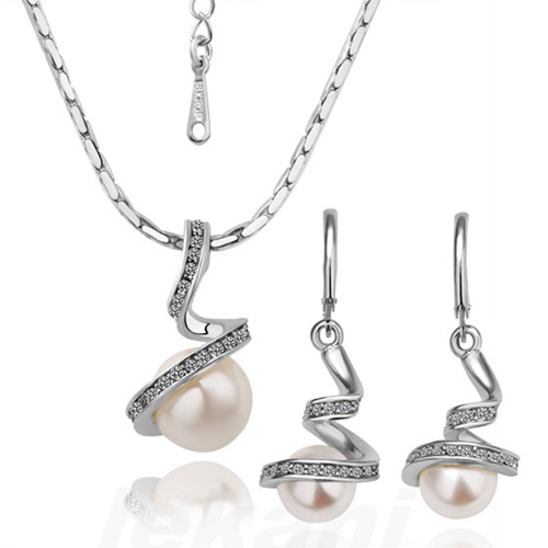 18KGP 18K White Gold Plated Fashion Rhinestone Crystal Imitation Pearl Necklace Earring Women Jewelry Set - Bottom Price(B & P store)