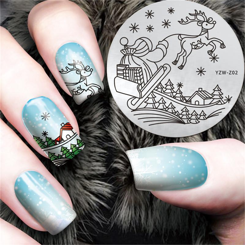 YZWLE New Christmas Theme Nail Art Stencils Image Stainless Steel Nail Polish Printing Plates Nail Manicure Tools #YZW-Z02(China (Mainland))