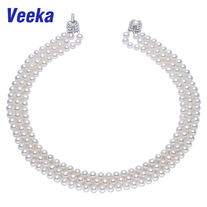 Veeka pearl jewelry 3 strand round freshwater pearl necklace 7-8mm 100% real natural pearls vintage choker necklace women
