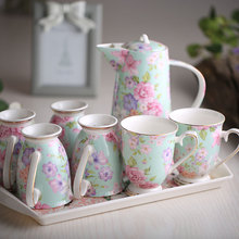 Fashion Bone China Ceramic Coffee/Tea/Water Cup And Pot 7 Peices Sets European High Quality Fashion Household Gift