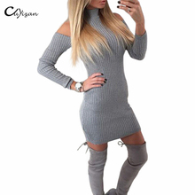 Cuyizan Winter off shoulder long sleeve knitted dresses women sweater sexy evening party Bodycon dress vestidos de festa OL(China (Mainland))