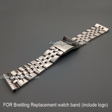22mm 24mm New silver polished stainless steel Replacement watch band strap Bracelets for BREITLINGWATCH