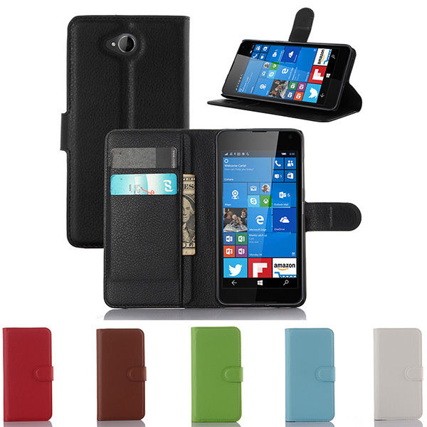 Luxury Flip Magnetic PU Leather Wallet Stand Case For Nokia Microsoft Lumia 650 Case Litchi Pattern Cover For Nokia Lumia 650(China (Mainland))