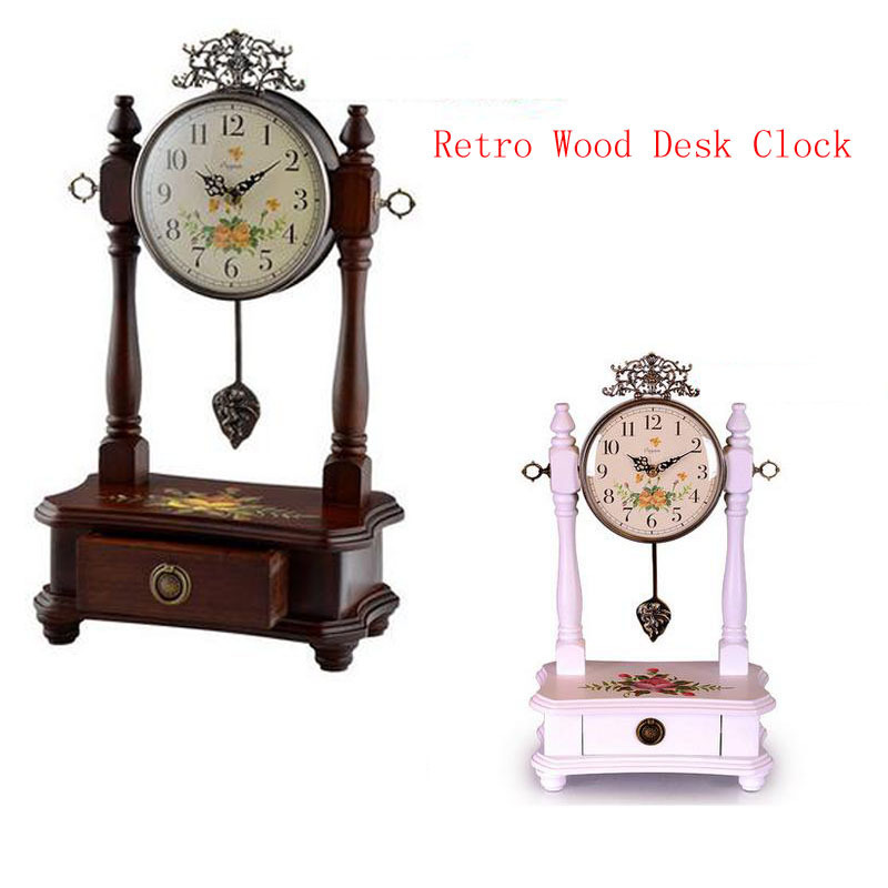 Retro Wood Desk Clock For Wedding Gift Vintage Home Decor,Mute Fashion Creative Suitable For The Sitting Room/ Bedroom Hot Sell(China (Mainland))