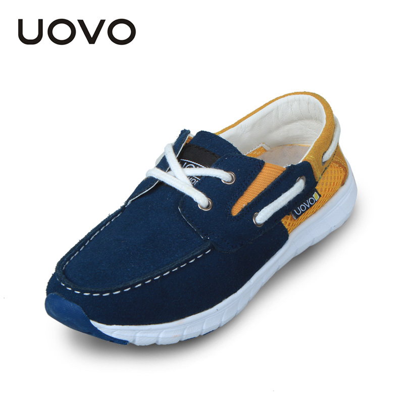 UOVO Light-weight Casual Sport Genuine Leather Boys Boat Shoes Blue Kids Deck Shoes Loafers Shoes for Little and Big Kids <br><br>Aliexpress