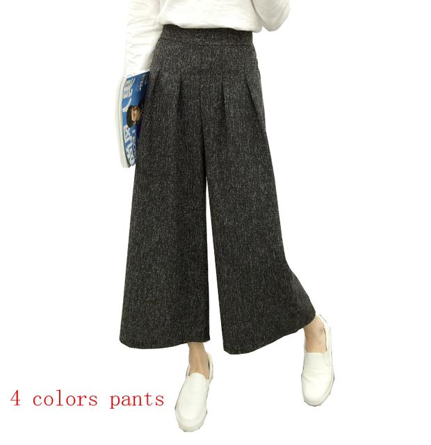 2016 новые весна лето женщин мода сплошной цвет женские брюки отдыха широкий ног ...