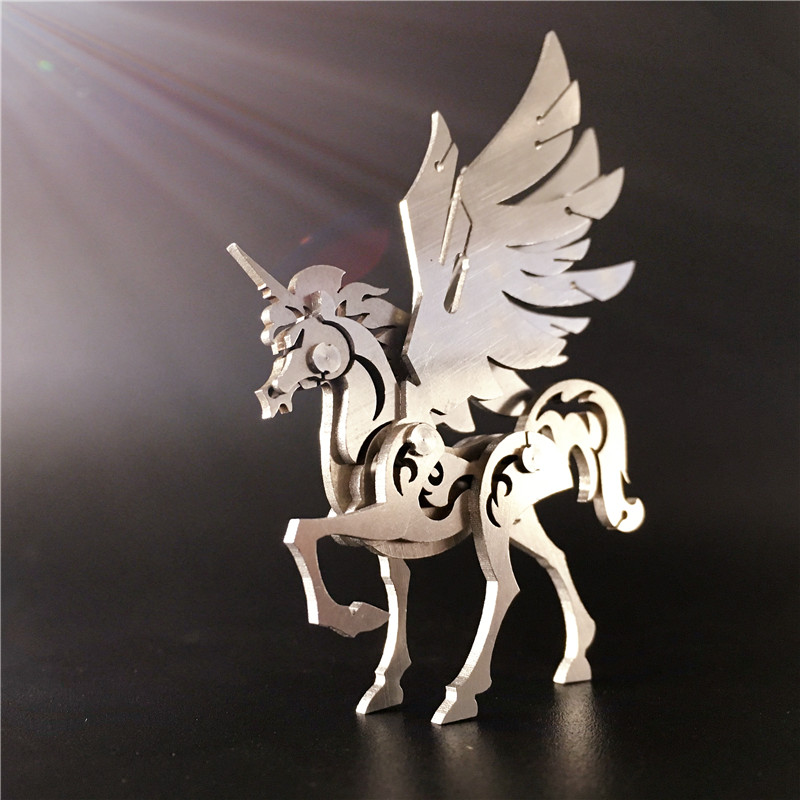 3D metal model Unicorn Intelligence toys Classic collection Detachable Creative gift Home Furnishing ornaments Stainless steel(China (Mainland))