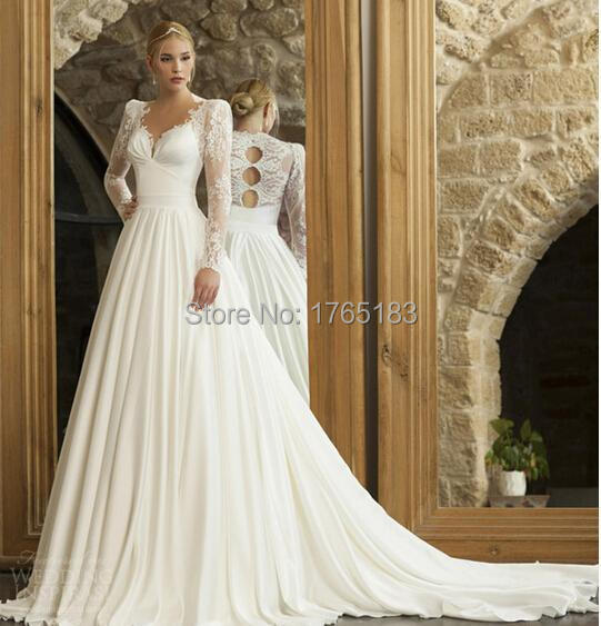 Buy 2015 elegant cinderella v neck sheer for Elegant long sleeve wedding dresses
