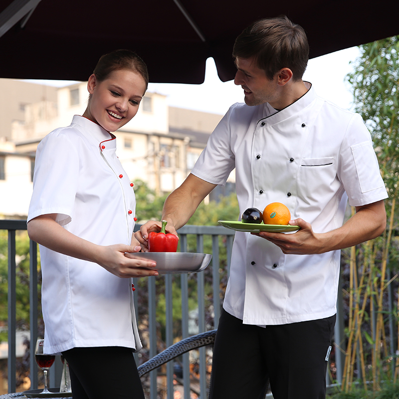 Hot Cook suit unisex short-sleeve cook work wear chef uniform white stand collar double breasted(China (Mainland))