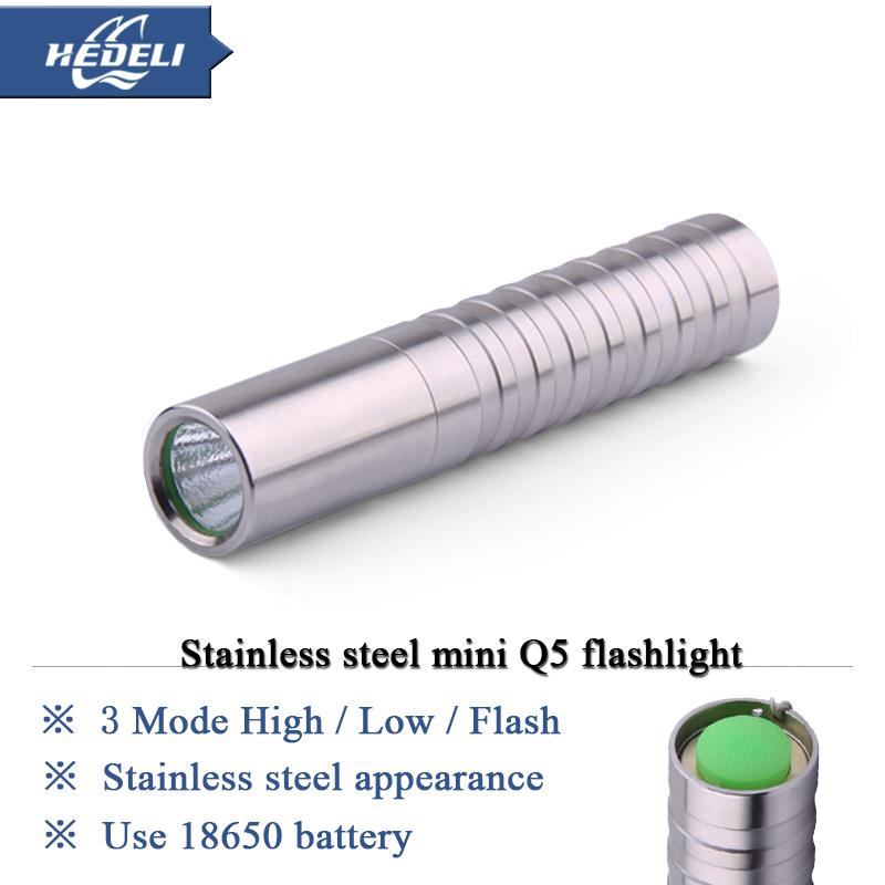 Torchlight Flashlight CREE Q5 LED Mini lantern Stainless Steel Torches(China (Mainland))